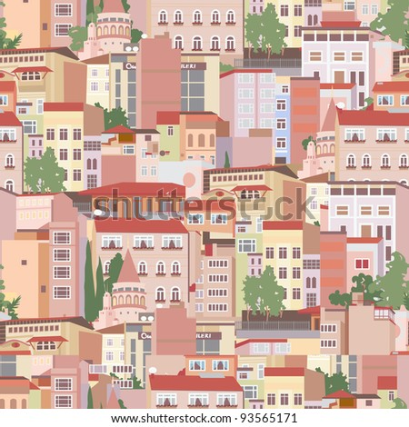Seamless pattern with residential area of Istanbul - stock vector