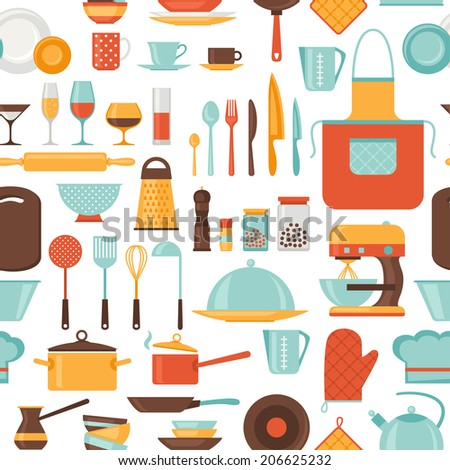 Seamless pattern with restaurant and kitchen utensils. - stock vector
