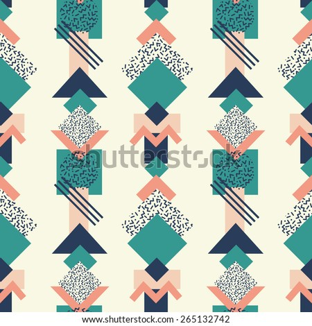 Seamless pattern with retro abstract shapes 3 - stock vector