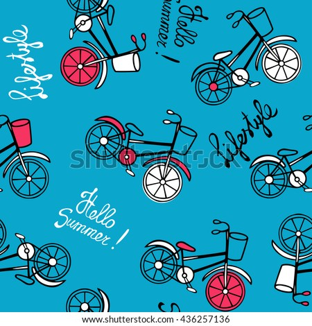 Seamless pattern with retro bicycles on a blue background. Sketch and lettering of hands. Vector illustration in Doodle style. - stock vector