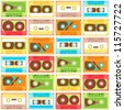 Seamless Pattern with retro different audio-cassettes. vector illustration - stock vector