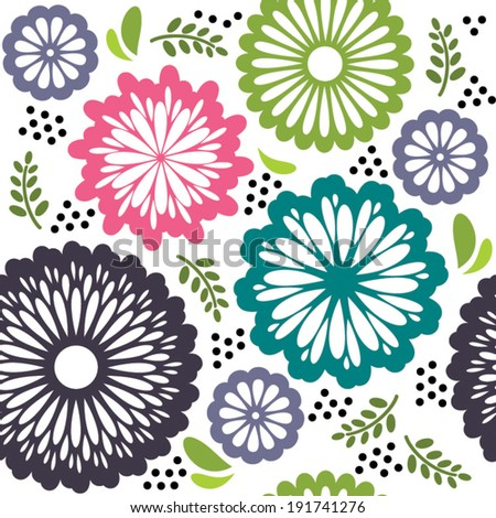 Seamless pattern with retro flowers in pink purple green white - stock vector