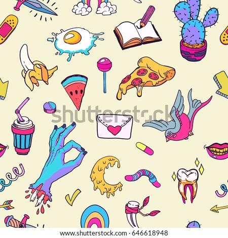 Seamless Pattern Retro Tattoo Symbols Cartoon Stockvector 646618948