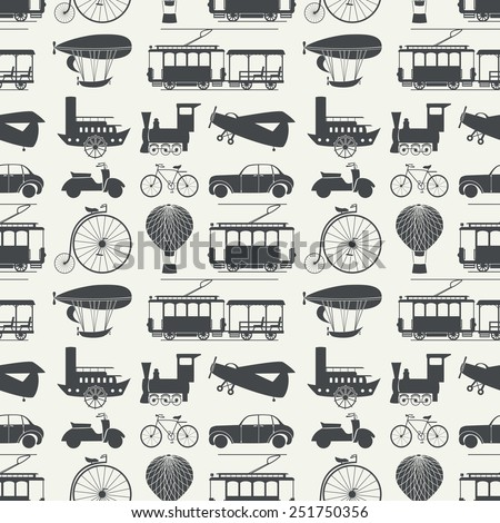 Seamless pattern with retro transport. Vector illustration, EPS 8. - stock vector