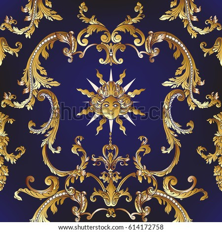 Seamless Pattern Richly Decorated Rococo Style Stock Vector