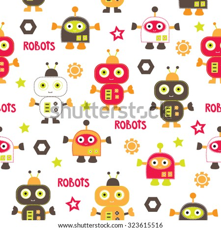 seamless pattern with robots vector illustration - stock vector
