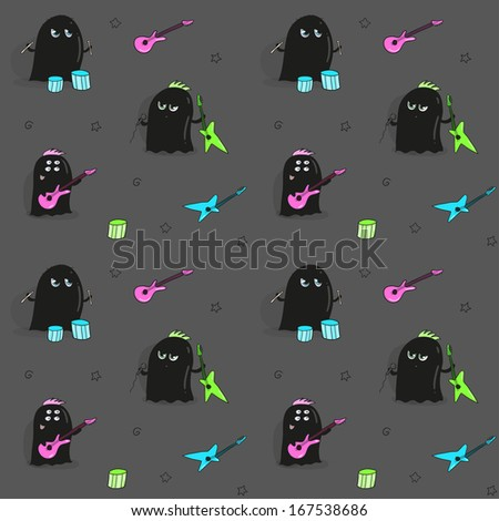 Seamless pattern with rock band of cute aliens - stock vector