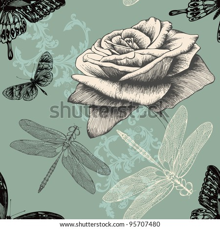 Seamless pattern with rose, decorative butterflies and dragonflies. Hand drawing. Vector. - stock vector