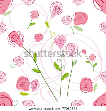 seamless pattern with rose design - stock vector