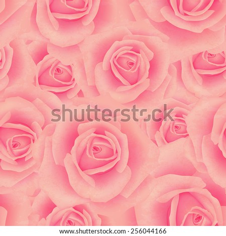 Seamless pattern with rose flowers for background design - stock vector