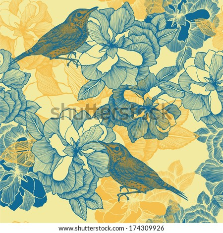 Seamless pattern with roses and bird blackbird. Vector illustration. - stock vector