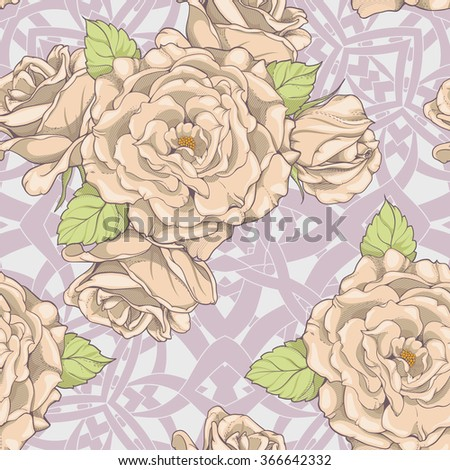seamless pattern with roses and branches in background