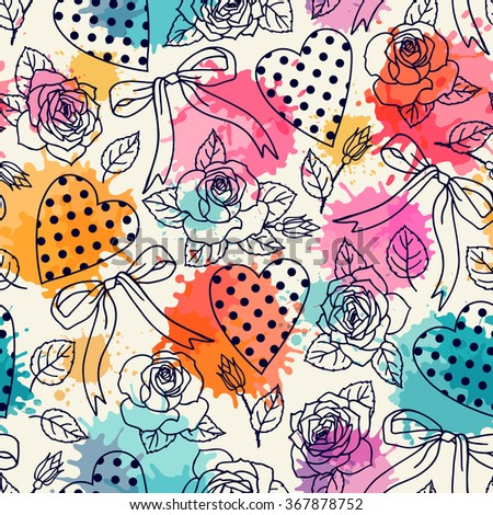 Seamless pattern with roses and hearts.