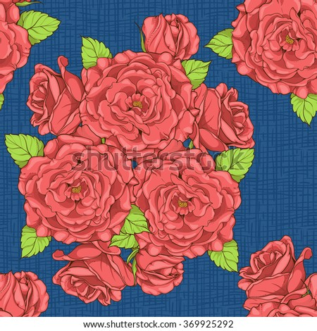 seamless pattern with roses and texture in background