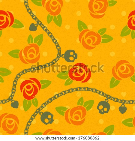 Seamless pattern with roses, chains, skulls and hearts on pola dots back. Vintage design. Brifht orange, red and green colors. - stock vector
