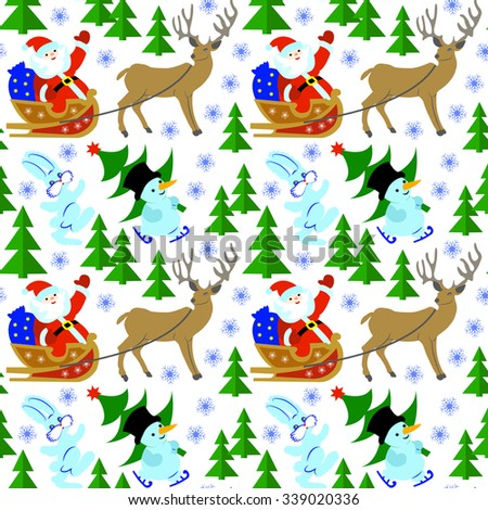 Seamless pattern with Santa in a sleigh, reindeer, snowman, Christmas tree and a hare.