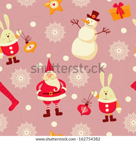 Seamless pattern with Santa, snowmen and rabbits. - stock vector