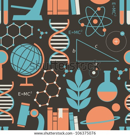 Seamless pattern with science and education symbols. - stock vector