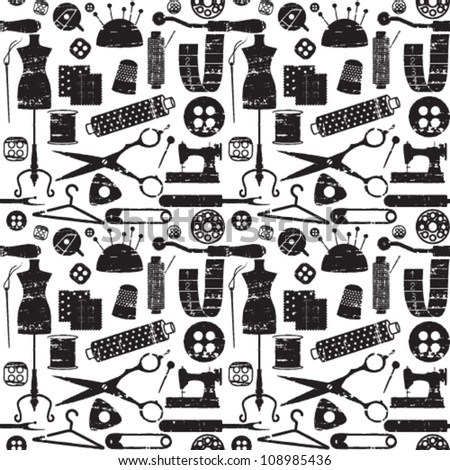 Seamless pattern with scratched sewing related symbols - stock vector