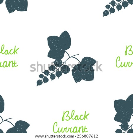 Seamless pattern with scribble dark blue illustrations of black currant with leaves and green text. Elements for design. - stock vector