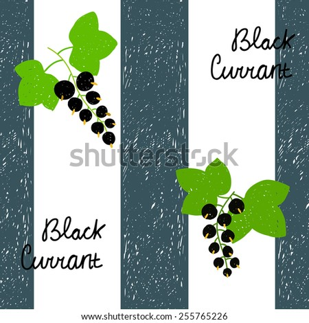 Seamless pattern with scribble dark blue vertical wide stripes,  illustrations of black currant with green leaves and text. Elements for design. - stock vector