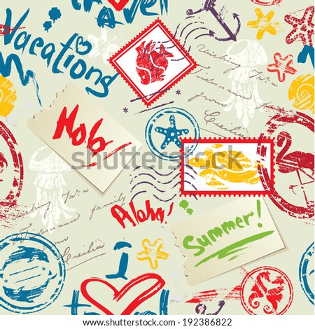 Seamless pattern with Sea and tropical elements - rubber stamps collection. Ready to use as swatch - stock vector
