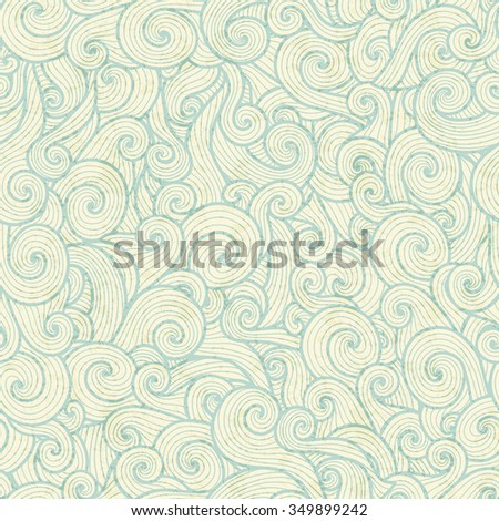 Seamless pattern with sea green spiral waves on a off-white background. Pastel color palette - stock vector