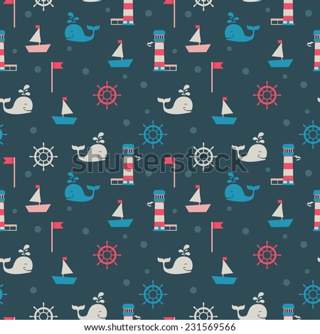 seamless pattern with sea icons, cute childish background, vector illustration  - stock vector