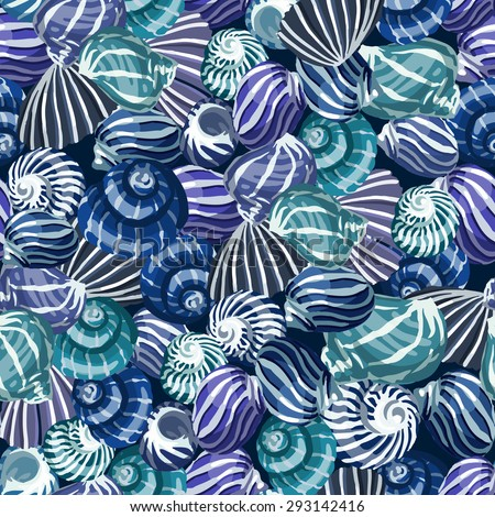 Seamless pattern with sea shells. Vector background. - stock vector