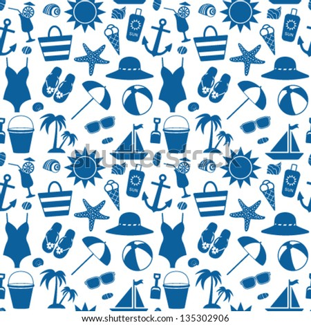 Seamless pattern with sea symbols - stock vector