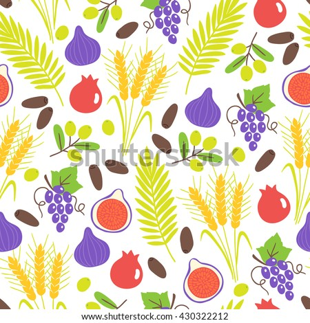 Seamless pattern with Shavuot seven species. Fig, pomegranate, wheat, barley, grapes, olive, date fruit. Perfect for wallpaper, food background and jewish holidays. Vector illustration - stock vector