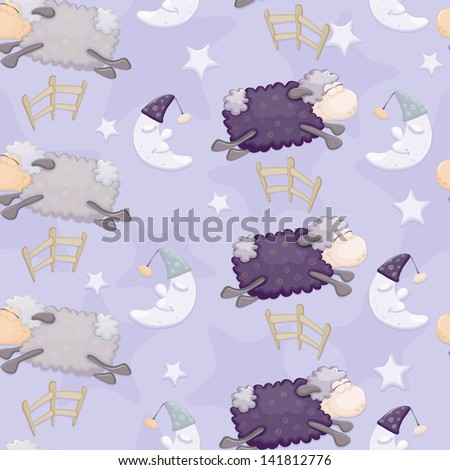 Seamless (pattern) with sheep, fence, moon and stars. - stock vector