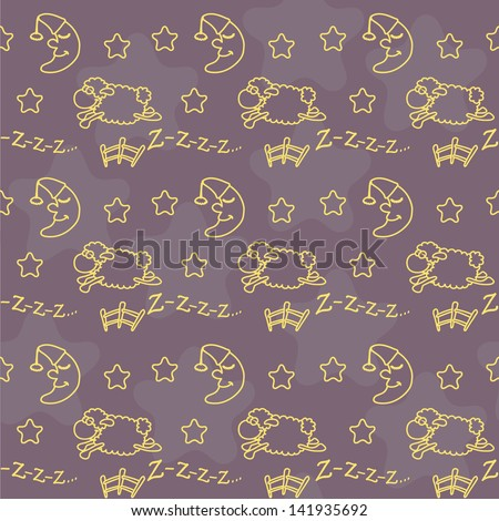 Seamless (pattern) with sheep, jump over a fence, moon and stars - stock vector