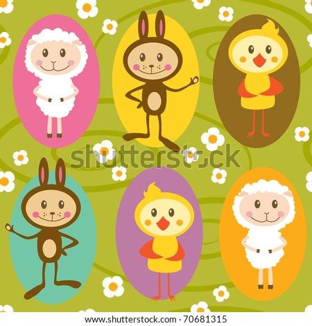 Seamless pattern with sheeps, rabbits and chickens - stock vector