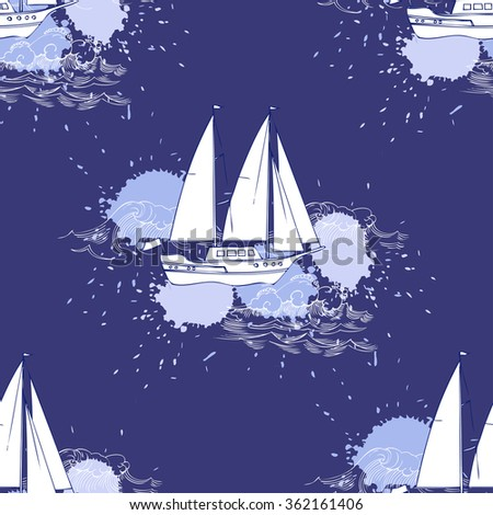 Seamless pattern with ships and travel elements. Hand drawn vector illustration
