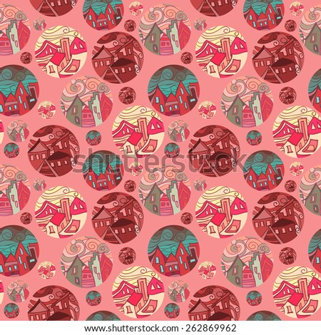 Seamless Pattern With Shots Of Cities In Red Tones. Vector illustration - stock vector