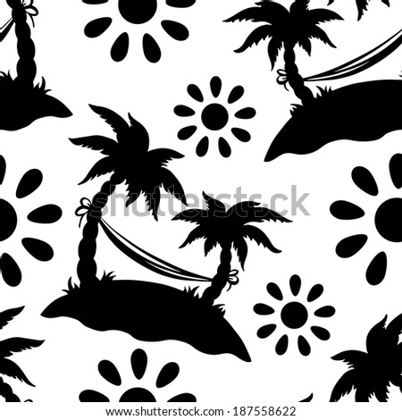 Seamless pattern with silhouettes coconut palm trees. Endless print silhouette texture in black and white. Summer. Hammock. Sun. Cartoon style - vector  - stock vector