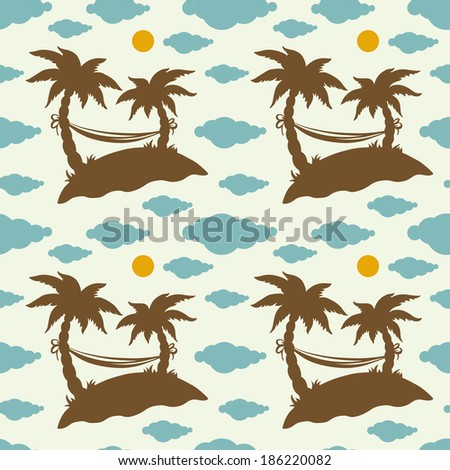 Seamless pattern with silhouettes coconut palm trees. Endless print silhouette texture. Summer. Hammock. Clouds. Sun. Retro. Vintage style - vector  - stock vector