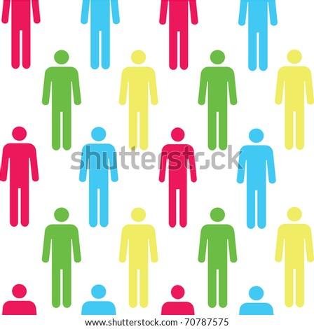 Seamless pattern with silhouettes of the person of red color.(can be repeated and scaled in any size) - stock vector
