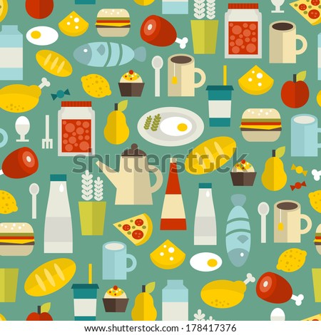 Seamless pattern with simple food. Vector illustration. - stock vector