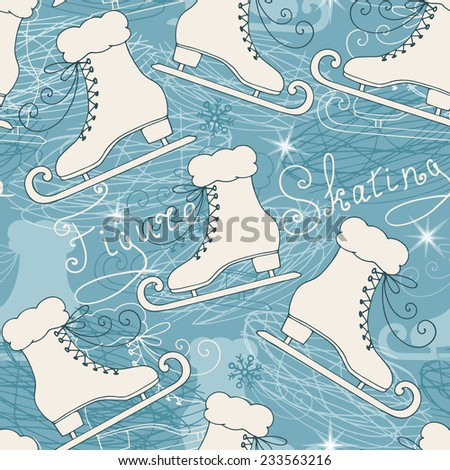 Seamless pattern with skates. Winter background with retro skates and text: figure skating. Vector illustration.