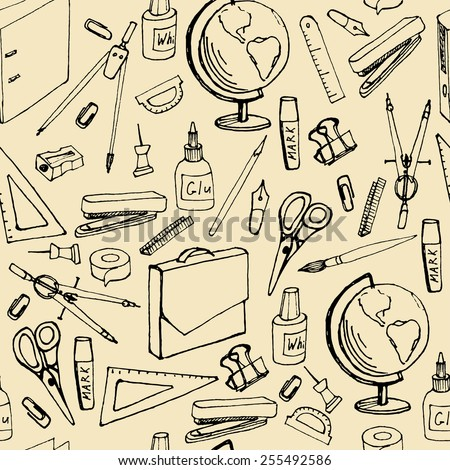 Seamless pattern with sketches office supplies. vector illustration - stock vector