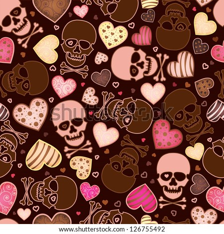 seamless pattern with skull and  heart - stock vector