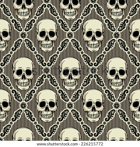 Seamless pattern with skull. Vintage wallpaper. - stock vector