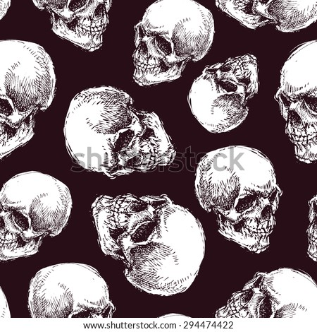 Seamless pattern with skulls - stock vector