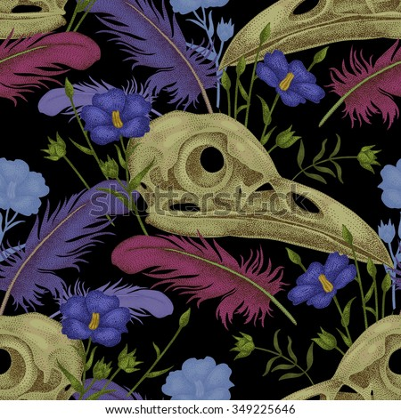Seamless pattern with skulls, feathers and flowers. Decorative composition on the theme of death on a black background. - stock vector