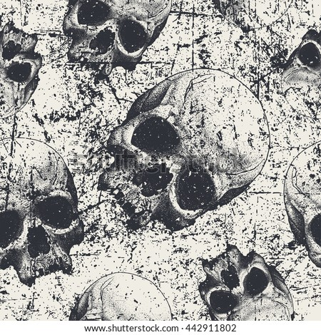 Seamless pattern with skulls in grunge style, vector - stock vector