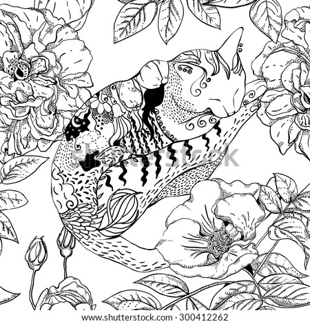 Seamless pattern with sleeping cats and flowers, monochrome