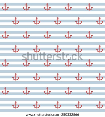 seamless pattern with small anchors on striped background - stock vector