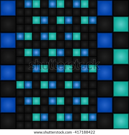 Seamless pattern with small and large blue and dark blue squares. Vector. LED-Display. Retro. - stock vector
